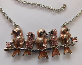 Birds on a Branch Rhinestone Necklace Pink/Peach Colors Costume Jewelry ADORABLE