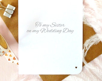 To my sister on my wedding day, bridal party thank you card, elegant hand written modern calligraphy,  UK