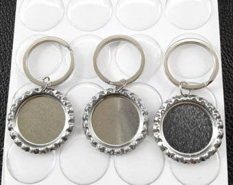100 Bottle Cap Key chain Kit - Flattened Flat silver Linerless Bottle Caps- Clear Round Epoxy Stickers-  keychain rings