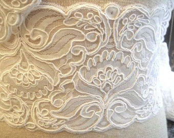 Alencon Bridal Lace Trim, White Bridal Lace, Lace Trim, Lace Finishing, White Lace, Light Ivory Lace, Light Ivory Trim 1-012