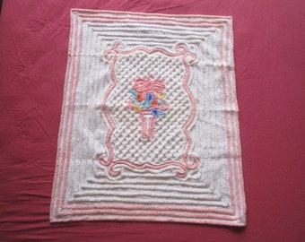 Vintage 1940s/50s Plush Cotton Chenille Baby or Doll Blanket Bedspread