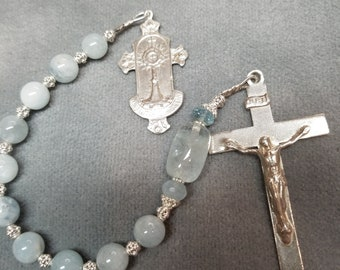 Classic Chaplet Aquamarine and Sterling Eucharist medal