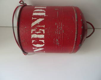 Vintage French Hanging Hung Fire Bucket Sand Hand Tool circa 1950/ French item home décor