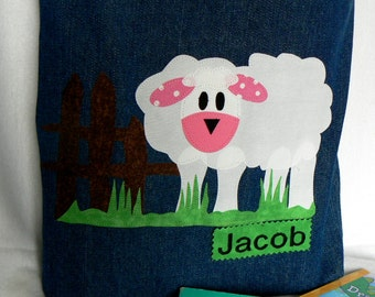 Sheep Farm Animal Kid Tote Bag|Personalized Tote Bag|Preschool Bag|Toddler Bag|Children Book Bag|Easter Gift Bag|Kid Gift Bag|Denim Tote Bag