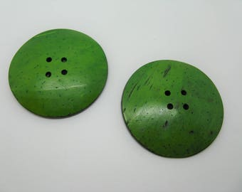 Set of 2 large round buttons coconut 5 colors-green ref 7 cm