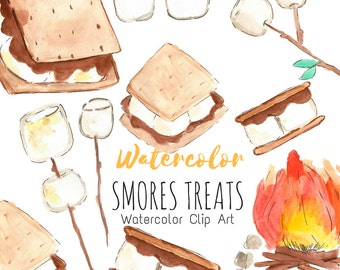 Smores Clip Art, Camping Clip Art. Watercolor hand drawn clip art set for Commercial Use