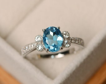Swiss blue topaz ring, oval cut, engagement ring, sterling silver