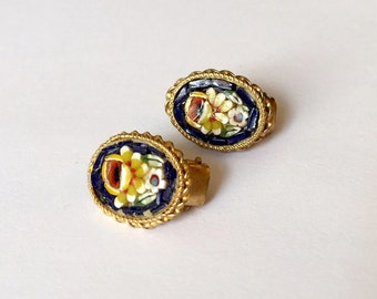 Vintage Italian Micro Glass Mosaic Flower with Gold Tones Clip On Earrings
