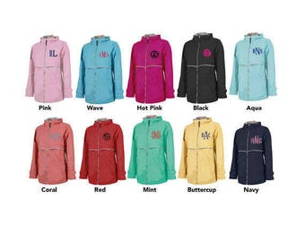 Charles River Rain Jacket - Monogrammed Rain Jacket - Charles River Rain Coat - Women's Rain Coat - Monogrammed Full Zip Rain Jacket