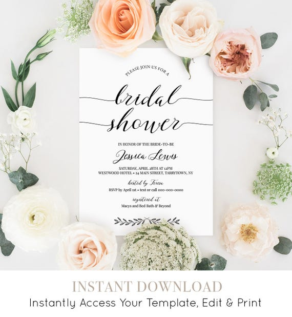 Bridal Shower Invitation Template, Wedding Shower Invite Printable, Rustic Calligraphy, Instant Download, Fully Editable Template #024-122BS