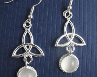 925Celtic Earrings with 8mm Moonstone Cabochons, Charmed TV inspired Earrings,  Irish Dangle Drop Earrings, Charmed Knot Trinity Jewelry