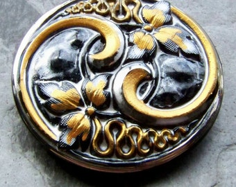 Vintage Button, Glass Button, Czech Button, Bohemian Button, Gold & Silver, Hand Painted Button, Leaf Button, Unique Button, Black Button, 1