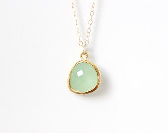 Mint Green Necklace Mint Bridesmaids Necklace Gold drop necklace Green crystal necklace Mint necklace Green bridesmaids, Green Necklace