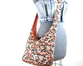 Sling Bag for Women - Hobo Bag - Over the Shoulder Purse - Crossbody Bag - Orange Purse - Across the Body Bag - Slouch Bag - Floral Bag