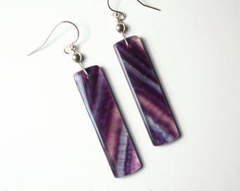 Fluorite Earrings, Natural Stone Earrings, Fluorite jewelry, Rustic Earrings