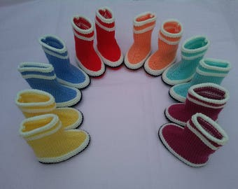 Baby booties, rain boots, boots sailor handknit (choose from 6 colors)