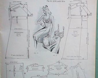 The Haslam System of Dresscutting Illustrated Book of Draftings for LINGERIE No. 6 vintage 1940s dressmaking patterns WWII women's fashion