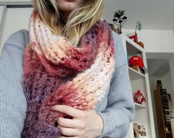 Handmade chunky knit ombre infinity scarf