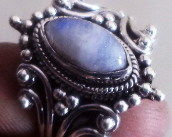 Rainbow moonstone ring, 92.5% sterling silver ring, handmade ring, Gift ring