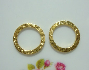 Handmade Gold Vermeil over Sterling Silver Hammered circles Link, 10mm, 2 pcs - PC-0028