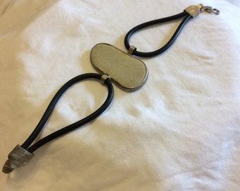 BRACELET - ARTISINAL HANDMADE  sterling silver, rubber and stone