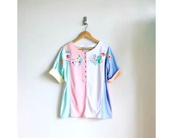 Rainbow Pastel Stripe Blouse / Neopolitan Spumoni Top / 80s Pastel Colorblock Blouse