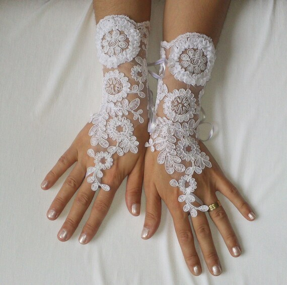 White, lace,  gloves,  wedding, prom, party, bridal, gloves, party prom,  239