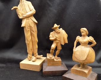 3 Folk Art Wooden Hand Carved Figurines Statue Deschenes Vintage Art Decor, Hand Carved Wood, Wood Carving, Wood Carved Figurines
