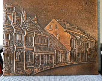 Retro Pressed and Hammered Copper / Brass Terrace Home Australiana Artwork