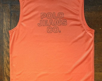 vintage polo jeans mesh tank mens size medium