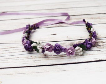 Handcrafted Light Purple and White Flower Crown - Lavender Flower Crown - Lilac Wedding - Bridal Flower Crown -Lilac Flower Girl Hair Wreath
