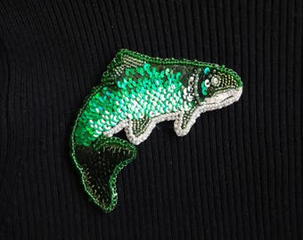 Jumping fish brooch pin, gift for her, brooch, jewelry, stocking stuffer