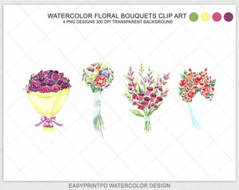 Hand painted Watercolor Flower Bouquet Clip Art, Wedding Clip Art, Flower Clipart, Scrapbooking Clip Art, DIY Wedding Flowers Clipart