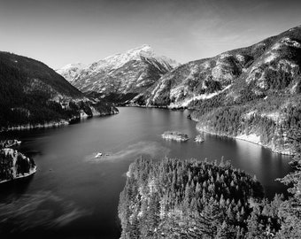 Diablo Lake Washington Pacific Northwest Black and White Matted Photograph in a Wood Frame