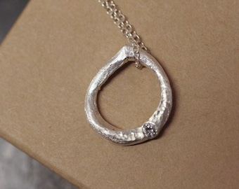 Floating Teardrop /  Pure Silver and Diamond Pendant