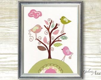Kids wall art baby girls nursery decor pink and green personalized art decor tree nursery birds nursery - Playing In The Wind