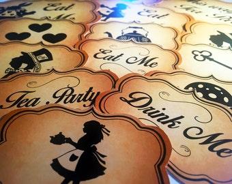 Alice In Wonderland Themed Sweet Buffett/ Tea Party Labels- 31 Designs