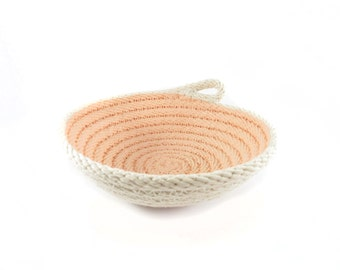Rope bowl, Soft pink, Hand painted bowl, Small jewelry dish, Natural cotton rope, Nautical rope decor, Handmade bowl, Stitched rope basket