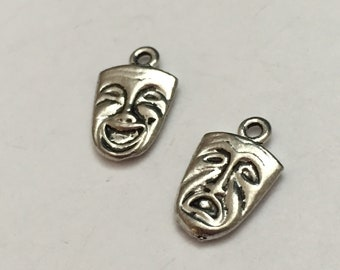 2 pc pewter theater mask charm, comedy/tragedy mask charm, jewelry supplies