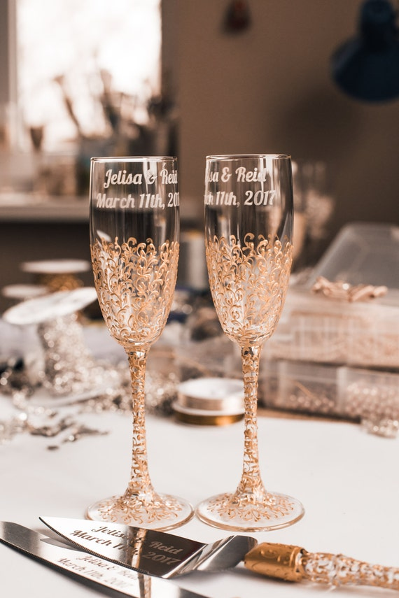 Etsy Personalized Champagne Glasses