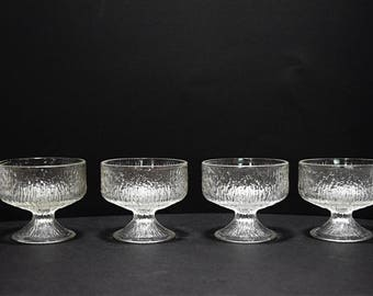 Indiana Glass ~ Set of 4~  Tree bark pattern ~Sherbet desert Glasses~ Set of Four ~ Clear~Icicle ~Vintage ~Textured~Modern~Clear~Glass