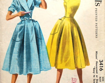 1950's Easy to Sew Housecoat or Dress Bust 32 Vintage Sewing Pattern McCalls 3416