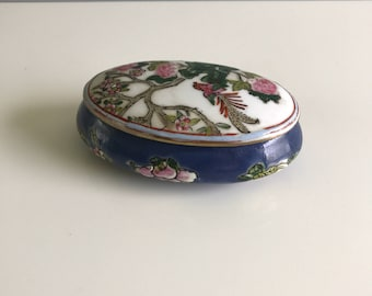 Vintage Macu Hand Painted Trinket Dish / Chinese Hand Painted Ring Dish