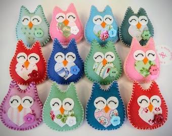 Handmade Felt Owl Brooch Mother's Day or Teacher Gift Present Thank you