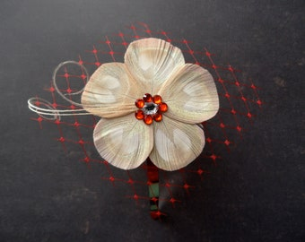 KATE Ivory and Red Peacock Feather Flower Headband with Red Veil, Feather Fascinator, Christmas Hair Clip