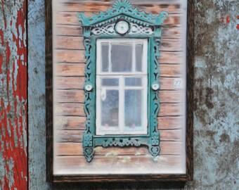 Russian decorative dacha window. Original Encaustic Photography. Rostov, Russia. Fine art wall decor. Rustic. Green. Rustic wood. Framed 5x7