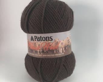 DeStash, Patons Classic Wool, Taupe, dark brown wool, worsted knitting yarn, yarn to felt, brown crochet yarn, wool knitting yarn