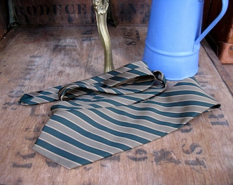 Lucino Tie, Striped Tie, Striped Necktie, Vintage Necktie, Vintage Tie, Mens Necktie, Made In England, 1960s Tie, 1960s Necktie, Green Gold