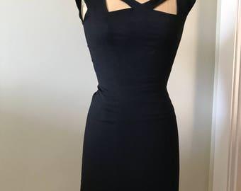 Women's Vintage Dress / 1960's Knockout 'Little Black Dress' / 1960's Black Wool Dress /60's Vintage Women