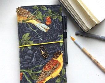 In Stock- ONLY A6 size, Fabric Cover Fauxdori, Travelers Notebook, Cover fabric, Fabric Midori book, Field Note, Standard Size Midori